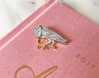 Barn Owl Pin, Soft Enamel Lapel Bird Pin, Collectible Art Jewelry