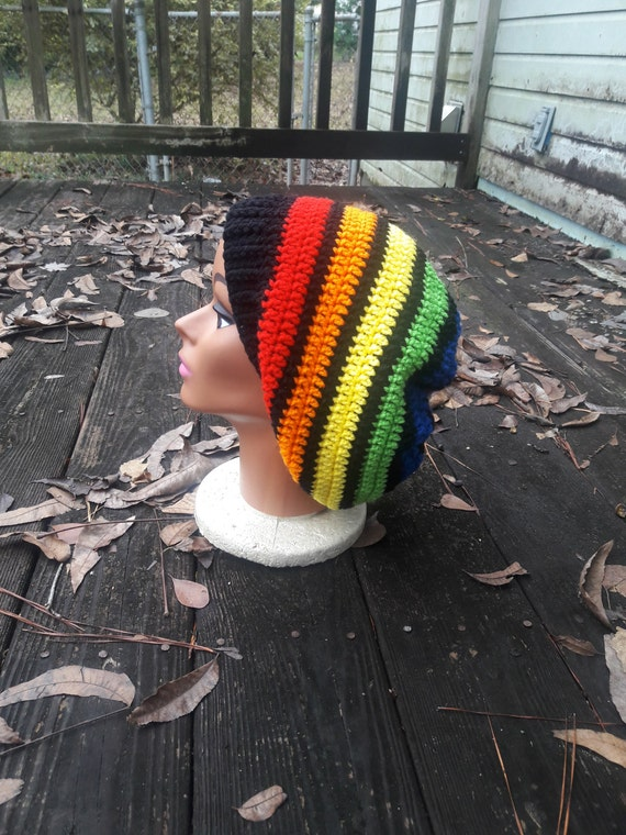 Rainbow hippie slouch beanie hat