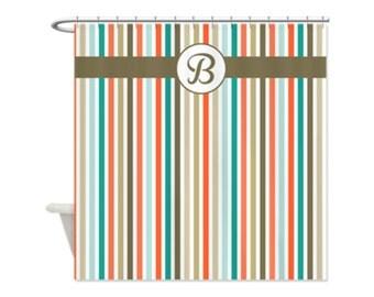 COASTAL BEACH STRIPE Personalized Kids' Shower Curtain - Kids' Bathroom Decor; Kids' Shower Curtain