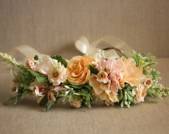 Spring Flower Crown Semi Full Halo - Peach and Blush Flowers - Greenery - m2m Well Dressed Wolf - Dollcake - Flower Girls - Bridal