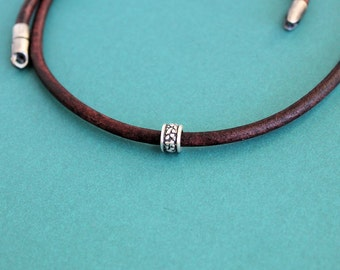 Mens Brown Leather Cord Necklace, Single Silver Bead, Mens Choker Necklace