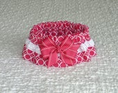 """CUSTOM for CHERYLLSU - Circle Chain on Hot Pink Dog Scrunchie Collar with stitched edge bow and white braid - Size S: 12"""" to 14"""" neck"""