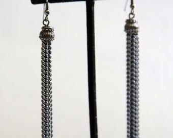 Long Drop Tassel Chain Earrings