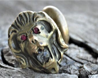One Lion Cuff link, Antique Jeweled, Lone Victorian Embossed Head, Faux Ruby Eyes, Diamond, Replace , Repurpose ,Recycle