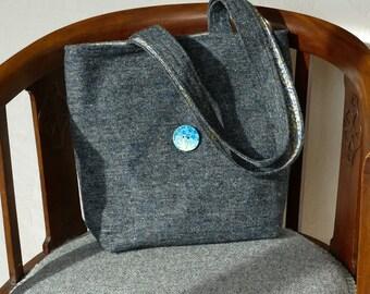 Tweed tote, charcoal, shoulder bag, handwoven in Scotland - SALE