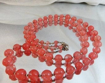 ON SALE Vintage Pink Art Glass Necklace. Rose Quartz. Silver Beads. 30 inches.