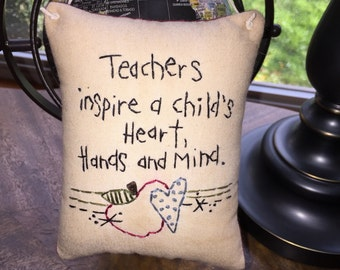 Primitive Country  Christmas Teacher Gift  Embroidery Ornie Ornament Pillow