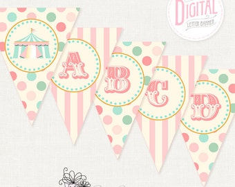 DIGITAL Pink Circus Banner, Baby Shower, Birthday, Carnival, Print Any Wording You Like, {Letters, Number & Dividers Included}