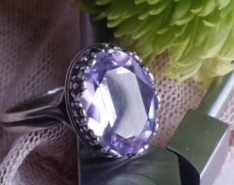 Alexandrite Flowers Ring, Alexandrite Ring, Lilac Ring, Lavender Ring, Vintage Swarovski Faceted Crystal Ring, Unique Ring, Spring Gifts