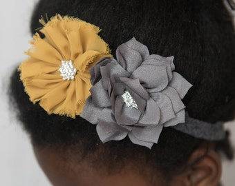 Grey Elastic Headband, mustard Flower Headband, Baby Headband, yellow Headband, Stretchy Headband, girl Hair Accessories, Photography Prop