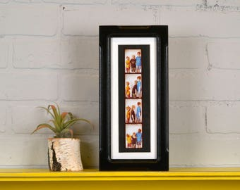"""Photo Booth Picture Frame 4x10"""" for Photo Strip in Shallow Bones Style with Vintage Black Finish - IN STOCK - Same Day Shipping - 2x8 Photo"""