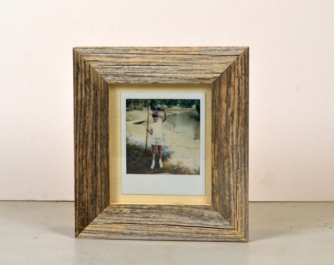 Picture Frame for Instant Camera Print in Rustic Natural Reclaimed Cedar 4.75 x 5.5 inch Frame - Vintage Photo Frames