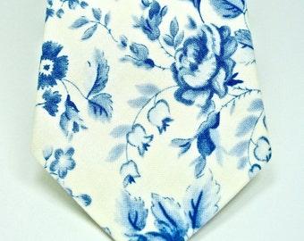 Floral Necktie Dusty Blue Necktie Mens Necktie Custom Neckties Wedding Neckties Blue Neckties