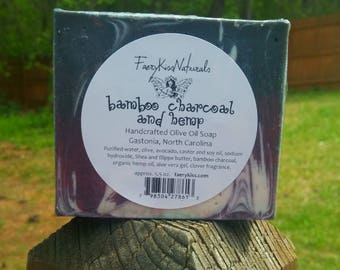 Bamboo Charcoal & Hemp - Handcrafted Rustic Olive Oil Soap