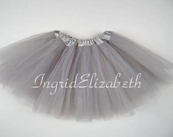 Silver Grey Tutu Ballet 4-Layer Skirt / FAST SHIPPING / Child Toddler Costume, Birthday Tutus, Dress Up tutus, Dance tutu, Princess tutu