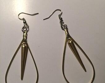 Large Spike Earrings, Hoop Earrings, Spike Hoops, Spike Teardrop Earrings, Spike Jewelry, Spike earring, spike hoops, spike teardrop earring