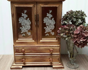 Gorgeous Gold Antiqued Large Armoire Jewelry Box