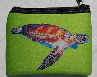 Speedy Sea Turtle on apple green art Coin Purse zippered pouch neoprene