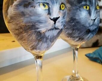 Pet, cat, portrait on wine glass Grey cat