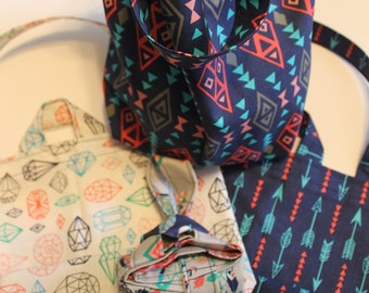 Coordinating Feather and Arrow Fabric Project/Produce Bags
