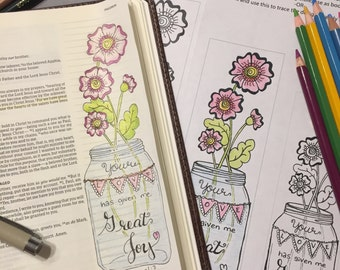 Bible Journaling Verse Art - Margin Art - Bookmark featuring Philemon 1:7 - Great Joy