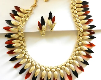 Vintage CORO  Lucite and Gold Plated Leaf Design Bib/Fringe Necklace & Earrings Set  in a glamorous  Egyptian style - art.607/4