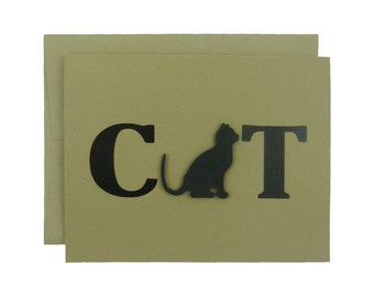 Cat Greeting Card Black Cat Card Single or 10 Pack of Card Set of Card Kraft Card Cat Note Card Kraft Cards Cat Note Cards Blank Card