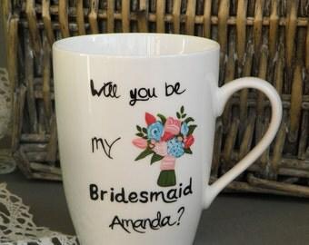 Bridesmaid Coffee Tea Mug Will you be my bridesmaid gift, Custom flower bouquet and burlap gift bag