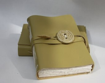 Chartreuse  Leather Journal or Leather Notebook Blank Book - Handmade