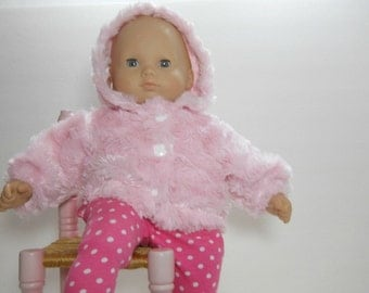 15 inch doll clothes made to fit dolls such as Bitty Baby and Corolle 14 inch baby dolls, Pink Cuddly Jacket, JACKET ONLY, 10-1442