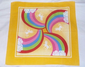 Vintage Rainbows & Unicorns Bandanna • made in U.S.A. Bandana