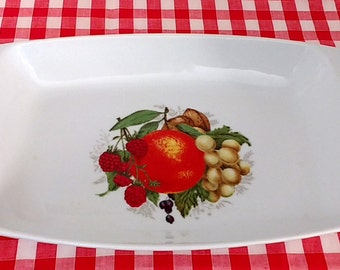 Casserole Baking Serving Dish Orange, Berries, and Grapes Design Retro 70s Country Kitchen