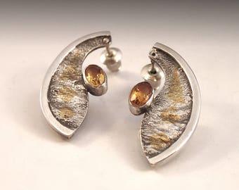 Open Pod earrings - reticulated silver, kuem boo, topaz
