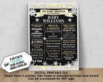 """DIGITAL Baby Shower Poster, 8"""" x 10"""", 11"""" x 14"""", 16"""" x 20"""", 18""""x24"""", Winter Snowflakes, Silver or Gold Color Scheme, Chalkboard Sign"""