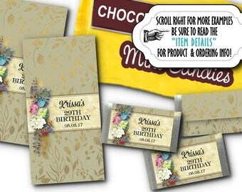 36 Mini Candy Bar Wrappers, Candy Favors,Watercolor Florals, Flowers, Wedding, Bridal Shower, Quinceanera, Birthday Party, Baby Shower