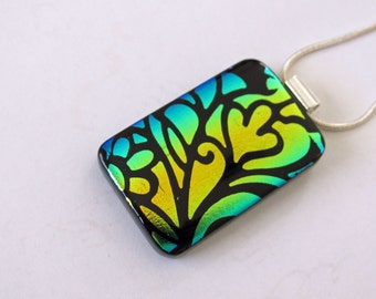 Fused Dichroic Glass Pendant - Yellow and Green Necklace - Fused Glass Jewelry, 7-14
