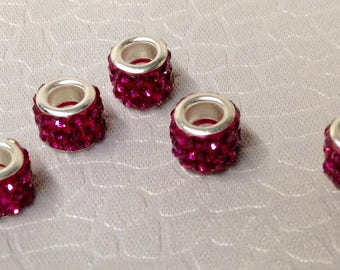 European style Rhinestone Bling beads little lot of Five Mix and Match add to Bracelet Dark Rose color