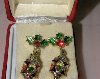 Vintage Colorful Holiday Women's Clip on Drop Earrings Jewelry