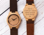 Personalised wooden watch ~ wooden watch with leather strap ~ Add the wording of your choice ~ FREE personalised gift box