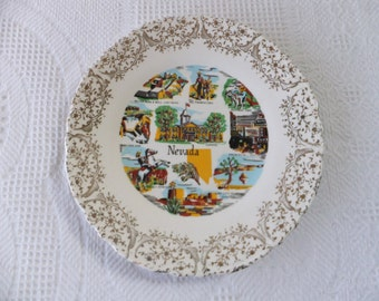 Vintage Nevada Souvenir State Plate with Gold Filigree Border Decorative Collector Travel Vacation Retro Wall Decor