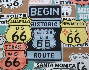 Historic Route 66 Sage Signs Retro Highway Alexander Henry Fabric Yard