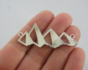 2 Mountain range connector charms silver plated WT231