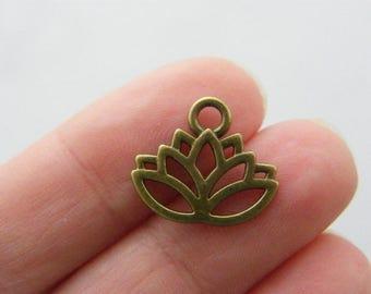 BULK 50 Lotus flower charms antique bronze tone BC199 - SALE 50% OFF