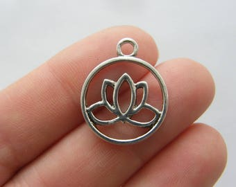 4 Lotus flower charms antique silver tone F193