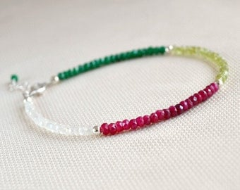 Silver stacking bracelet, dainty bracelet, genuine gemstone bracelet, multicolored bracelet
