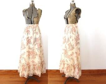 70s Boho Skirt / 1970s Skirt / 1970s Floral Maxi Skirt