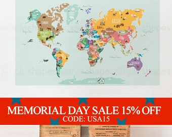 Memorial Day Sale - World Map Decal, Countries of the World Map, Kids Country World Map Poster,  Peel and Stick  Poster Sticker, World Map