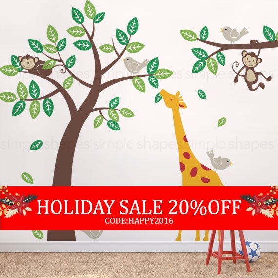 Holiday Sale - Wall Decal Kid Children wall decals - Monkey Giraffe and Birds Tree and Branch Set