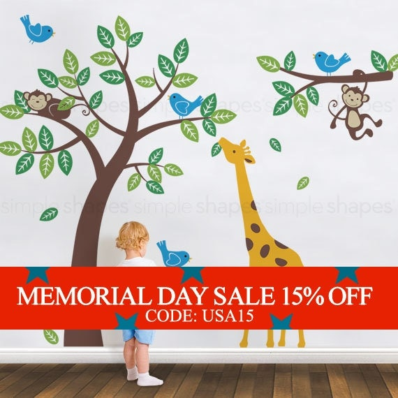 Memorial Day Sale - Tree with Monkeys Giraffe and Birds Wall Decals - Baby Nursery Wall Decals