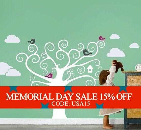 Memorial Day Sale - Swirly Tree with Cute Birds Decal - Kids Vinyl Wall Sticker